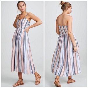 Free people lilac Multi Striped Pleated Midi Dres